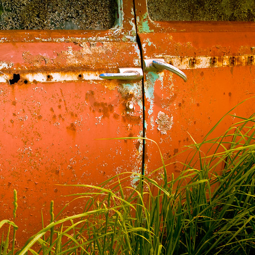 Cuba Gallery: Orange / vintage / retro / car / door handles / rust / texture background / grass