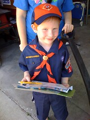 Cutest door to door popcorn salesman ever. Jacob in his cub scout uniform.