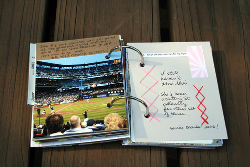 16. Go to as many baseball games as possible. 17. Finish that cross stitch for my mom.