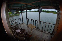 The porch at the River Guesthouse we were sitting on when the naked Thai thief broke in
