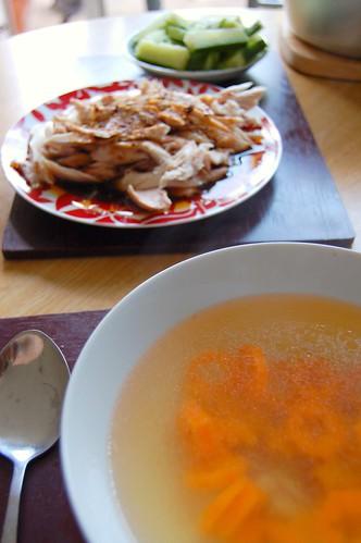 Chicken broth and spicy chicken salad