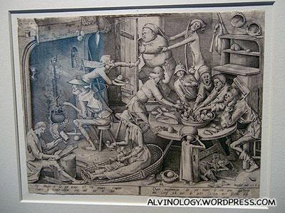 Pieter van der Heyden (ca. 1530-1572/92), after Pieter I Brueghel (the elder): The Thin Kitchen, c.1563