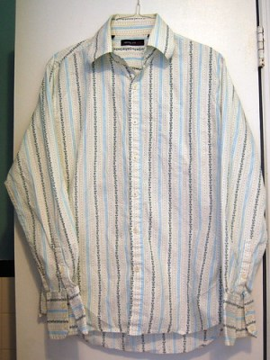 before: husband's old shirt