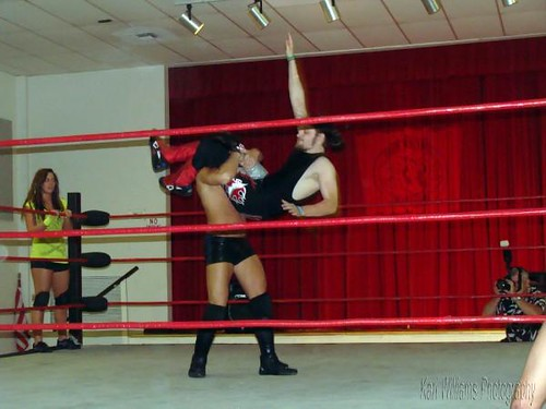 Davey Vega and Brandon Aarons go at it during the mixed tag match, in which Santana G mader her wrestling debut. Photo by Kari Williams