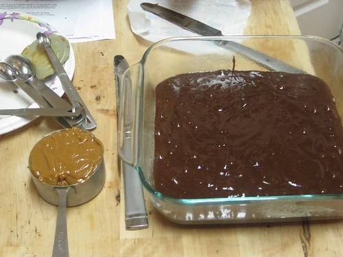 brownie batter and dulce de leche
