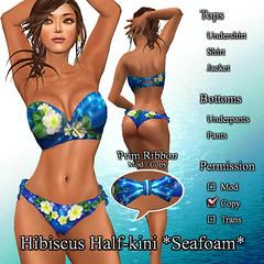 Hibiscus Half-kini *Seafoam* DeepBlue