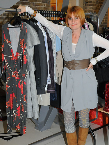 Mary Portas with donated clothes