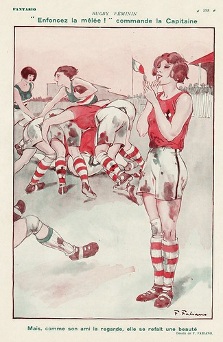 """Fabiano """"rugby féminin"""" in Fantasio 1924"""