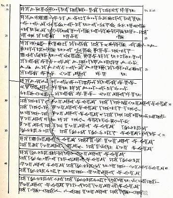 Un fragmento del código hitita transcrito