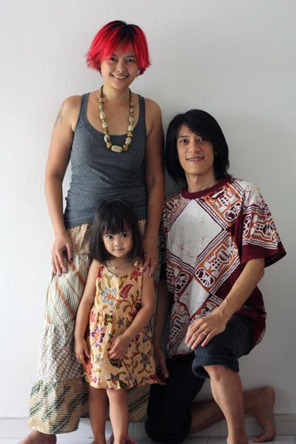 family portrait in batik