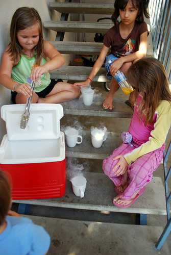neighbor kids enjoy the dry ice