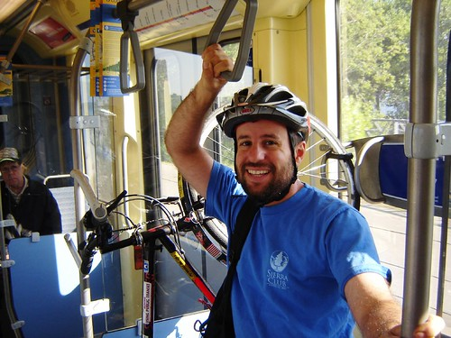 Green travel: bike to LRT, to express bus to park.