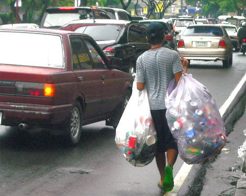 Collecting garbage in Makati City