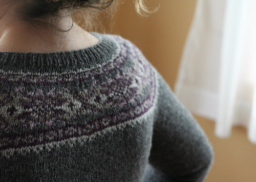 Back view, Plum Frost Cardigan