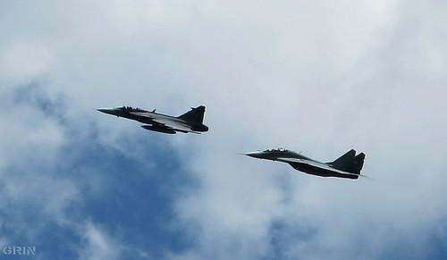 A JAS-39 Gripen és a MIG-29 Fulcrum köteléke Budapest felett