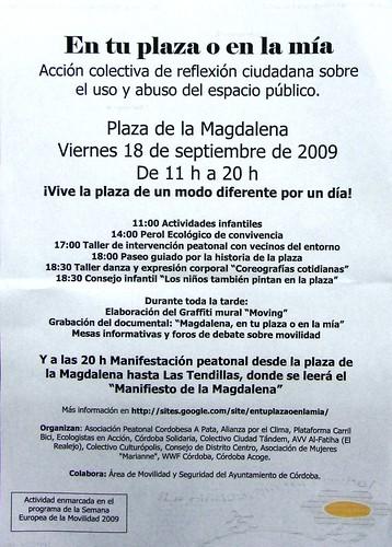 Actividades Plaza Magdalena 18 de septiembre. Semana Movilidad 2009 en Córdoba.