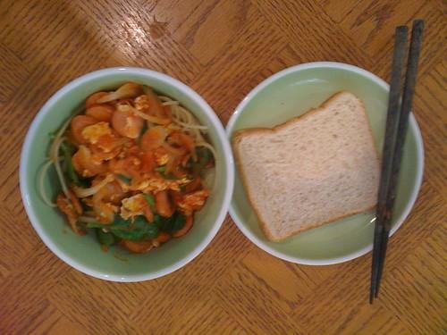 Spinach. Eggs. Sausage Spaghetti with Bread
