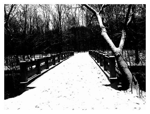 Snow covered bridge in Glenview