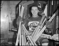 Bruins goalie Tiny Thompson in locker room