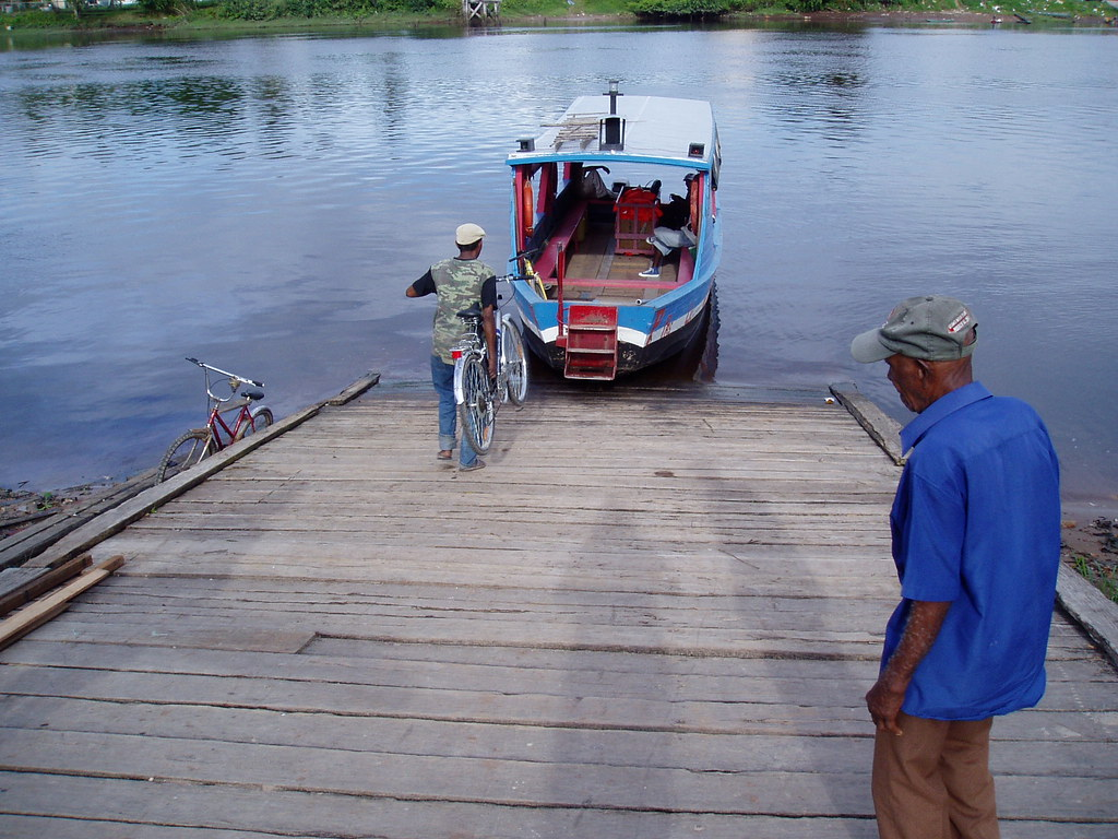 Ferry across the Demerara River, 2009, Linden, Guyana