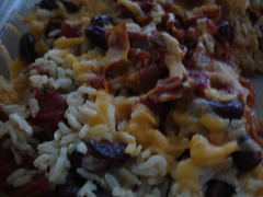 cheesy rice and bean bake
