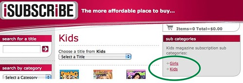 isubscribe subscription options are Kids or Girls