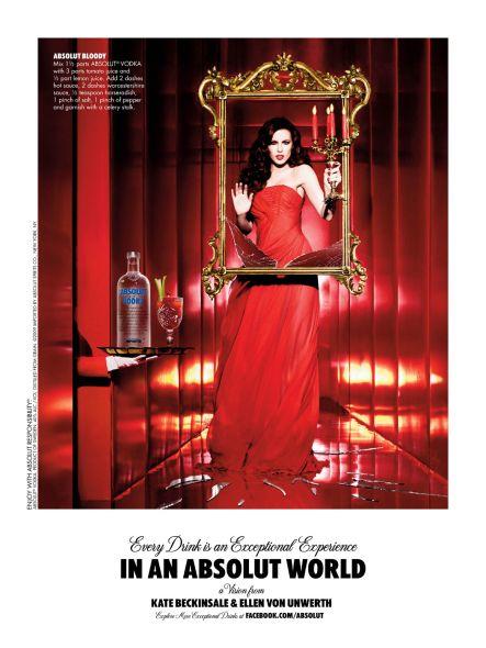 Absolut Vodka, Cada trago es una experiencia excepcional. Y ¿Ella? ... KATE BECKINSALE ...sin dudas excepcional.