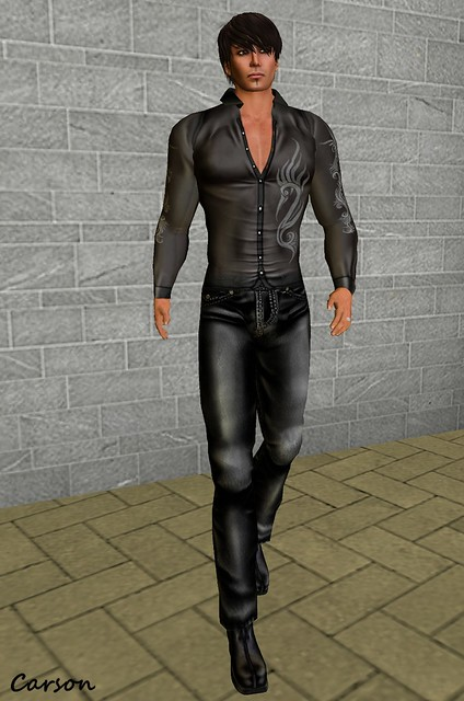 GizzA - Black Tribal Shirt, Leather Pants,& Rider Boots     GizzA Avenue Group Gift Male