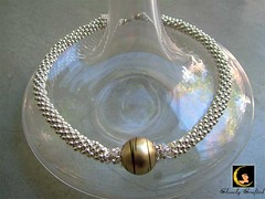 Golden Ball - Crochet Silver Beaded Rope Necklace