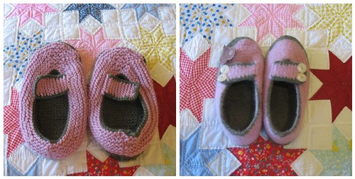 Felted Slippers Before and After