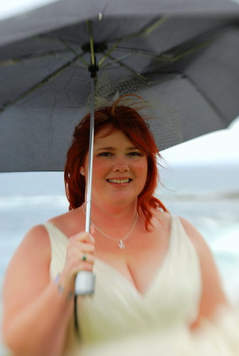 bride with an umbrella