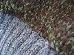 closeup of lichen jumper stitches