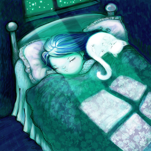 girl & cat sleeping