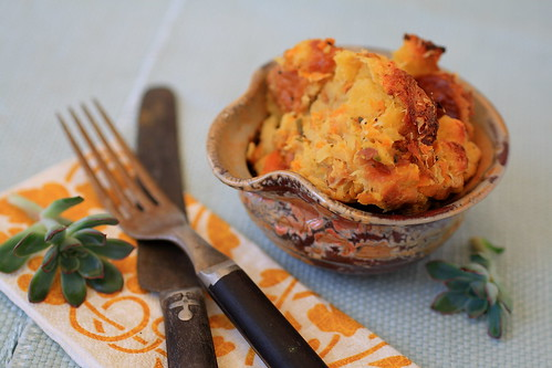 Parsnip Leek Potato Bread Pudding