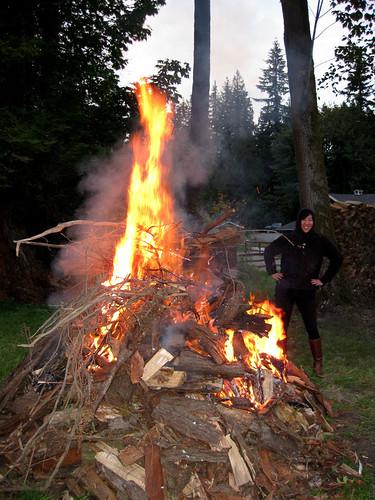 Autsy moniters the burnpile