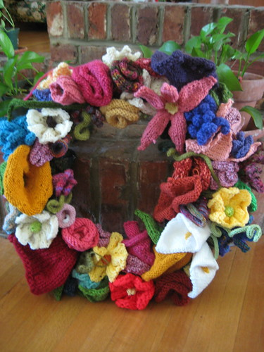knitted flower wreath