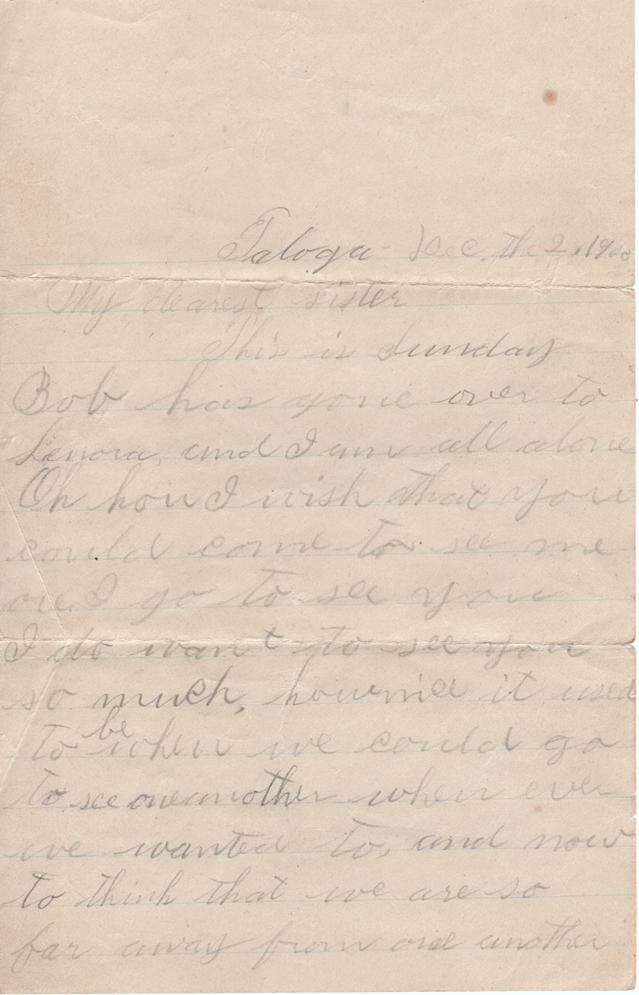 December 2, 1900 Pauline to Freeta Page 1