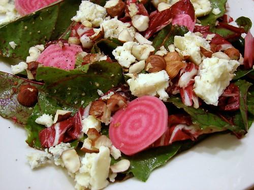 Beets & Blue Salad with Warm Pancetta Vinaigrette