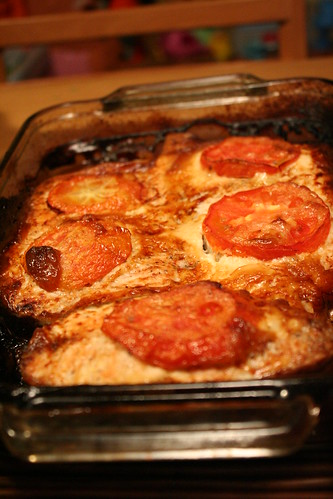 Baked Salmon w/mayo and tomatoes