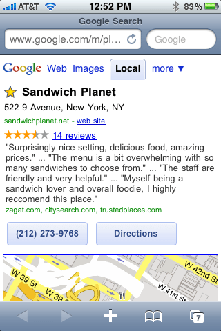 Sandwich Planet via Google Favorite Places