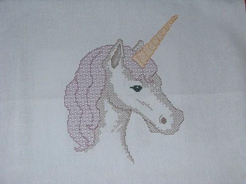 finished blackwork unicorn cross stitch