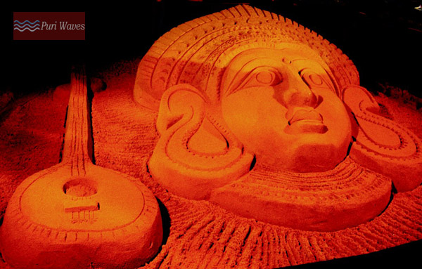 sand art of Goddess Maa Saraswati