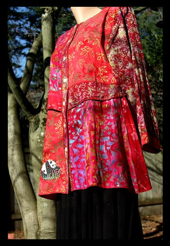 """IN THE SHADE OF THE LOLLIPOP TREES"" ...One of a kind panda batik jacket by Sandra Miller 2009"