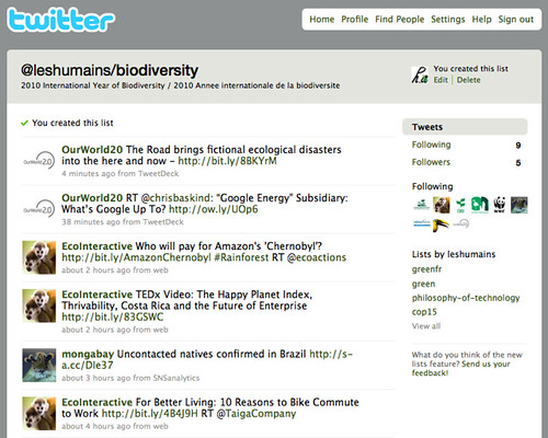 Twitter List : 2010 International Year of Biodiversity / 2010 Annee internationale de la biodiversité / @leshumains/biodiversity
