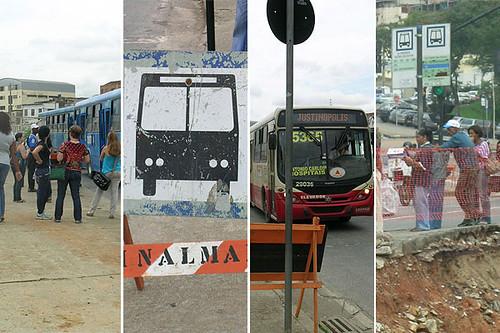Pontos de ônibus na Avenida Antônio Carlos