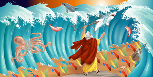 Moses parts the waters