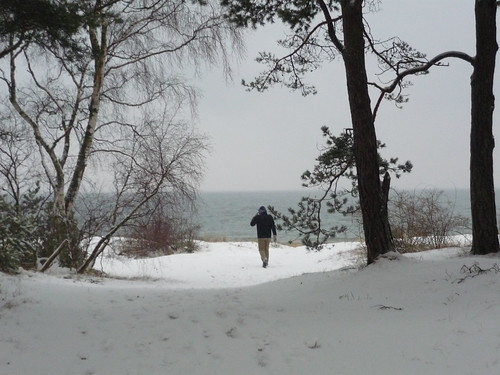 Walking towards the snowy beach