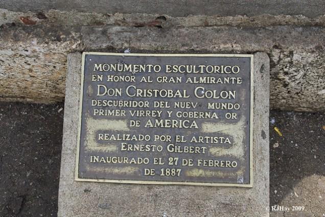 Columbus Monument Plaque