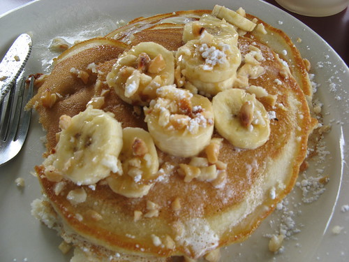 Macadamia Nut Pancakes with Bananas & Coconut Syrup