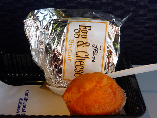 Egg and cheese biscuit + a muffin = airplane breakfast